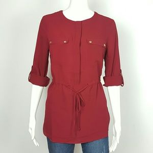 BLOUSE STRING WAIST BURGANDY 3/4 SLEEVE SIZE SMALL